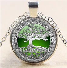 Celtic Silver/Green Tree Of Life  Glass Cabochon Tibet Silver Chain Necklace#E5E
