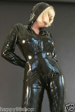 Latex Rubber Tights Hooded Bodysuit Black Catsuit Handsome Suit Sizes XS-XXL