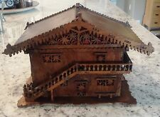 Tramp Art Antique 2 Story Wooden House w/Stairs intricate beautiful workmanship