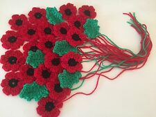 New LOVELY Crochet 20 Poppies Flowers +6 Leaves