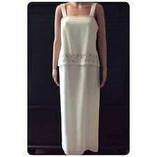 Womens R M Richards By Karen Kwong Ivory Sleeveless Dress Gown W/Jacket Size 10P