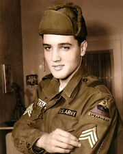 "ELVIS AARON PRESLEY ARMY UNIFORM 1960 8x10"" HAND COLOR TINTED PHOTOGRAPH"