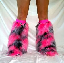 Rainbow Cow camo rave raver fluffies fluffy boot covers legwarmers neon cyber