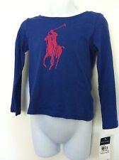 Ralph Lauren Girls Shirt Blue Lg Pink Logo Graphic Yellow #3 LS Sz M (8-10) NWT