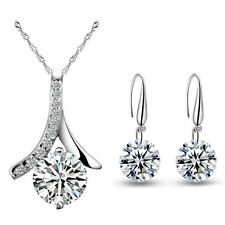 Weddings Bridal Jewellery Set Silver & White Zircon Drop Earrings Necklace S715