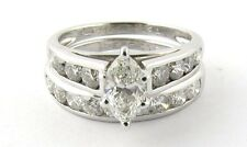 IGI Certified Platinum Diamond Engagement Wedding Ring Set, Marquise .62ct