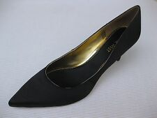 Nine West Womens Shoes NEW $85 Andriana Black Satin Dress Pump 9.5 M