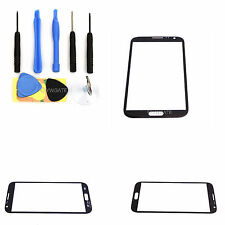Black For Samsung N7100 Repair Replacement Front Screen Glass Lens Cover+9Tools