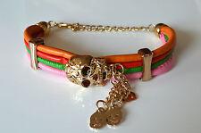 Bracelet Damenschmuck Designer Armband in Leder Optik Totenkopf Mehrfarbig A.A06