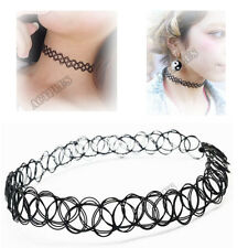 Retro Sexy Choker Necklace Stretch Tattoo Elastic Plastic Goth Hippie Necklet AC
