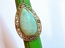Large Vtg 14K Y Gold Pear Jadeite Jade Chinese Ring 8.7gr.  Size 8.5 FREE SHIP