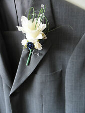 6 Ivory & Navy Rose Corsages Buttonholes with Crystal Sprays Wedding Flowers
