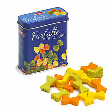 Wooden pretend role play food Erzi play kitchen shop: Wooden Pasta Bows in a tin