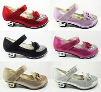 Girls Glitter Diamante Party Wedding Shoes Kids Children New Velcro Size 7-3