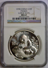 1998 10 Yuan 10Yn PANDA LARGE DATE Silver CHINA PEOPLE'S REPUBLIC NGC MS67 MS 67