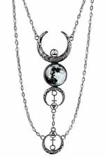 Restyle Full & Crescent Moon Occult Witch Antique Silver Multi Drop Necklace