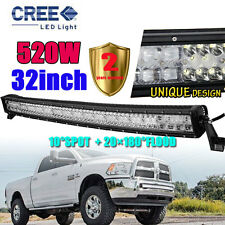 "520W 32""INCH CURVED CREE LED Combo Work Light Bar Offroad Driving FLOOD SPOT AWD"