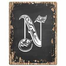 PP0485 Alphabet Initial Name Letter N Chic Sign Bar Shop Store Home Room Decor