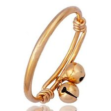Classic Childrens 2-Bell Charms Adjustable Bangle 18K 14k Gold Filled