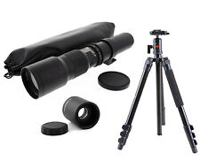 Pro Ball Head Tripod w/ 500-1000mm f8 Telephoto Lens For Sony Minolta AF Cameras