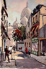 Lithographie French Lithography Vue de Paris Montmartre Aquarelle Gouache
