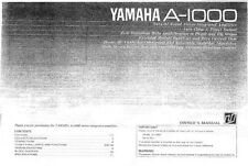 Yamaha A-1000 Amplifier Owners Manual