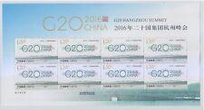 P.R. OF CHINA 2016-25 G20 HANGZHOU SUMMIT SILK MINI SHEET OF 8 STAMPS MINT MNH