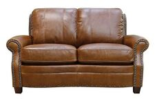 """New Luke Leather Furniture """"Ashton"""" Tan Leather Loveseat Only with Studs"""