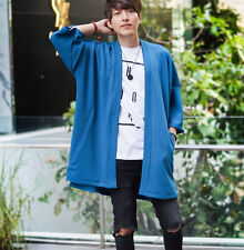 Men's Long Blue Kimono Cardigan Noragi Jacket Oversize Japanese Street Fashion