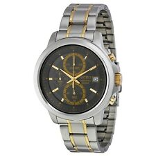 Seiko Men's Chronograph Charcoal Dial Two-Tone Stainless Steel Watch - SKS449