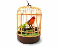 Realistic Singing & Chirping Bird In a Cage Gift Set Desktop Display New