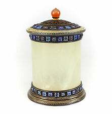 Chinese Jade Gilt Silver Floral Enamel & Agate Finial Tea Caddy, 19th Century.