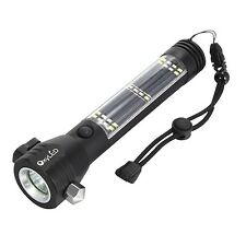 Solar Power Flashlight Multi-Functional LED Flashlight Rechargeable USB Camping