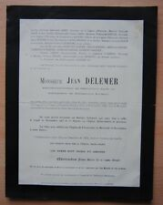 █ Faire Part de décés Jean DELEMER 1927 █