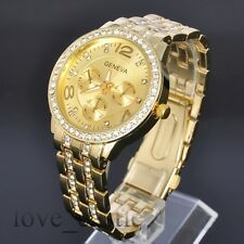 Gold Plated with Luxury Crystal Mens Analog Quartz Wrist Steel Strap Watch