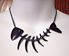 BLACK FISHBONES NECKLACE fish skeleton skull black painted punk surf choker C5