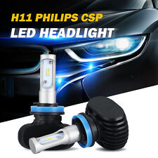 2x H11 H8 H9 PHILIPS CSP LED Car Headlight Low Beam Bulbs 160W 16000LM 6500K 12V