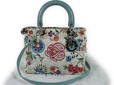 Christian Dior Cannage Lady Dior Hand Bag Floral 100% Auth From JAPAN