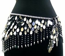 Belly Dance Lace Shiny Sequin Hip Scarf Belt Wrap -- Black & Silver