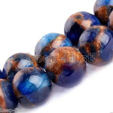 8mm Natural Blue Sapphire in Quartz with Pyrite Round Loose Beads 15'' AAA+ DIY
