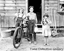 Children Sharing a Bicycle, Thurston County, Wash. - 1939 - Historic Photo Print