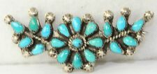 VINTAGE OLD DEAD PAWN STERLING SILVER TURQUOISE PETIT POINT BAR PIN