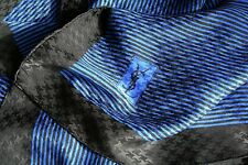 YSL silk scarf - Blue / Black striped print - Large
