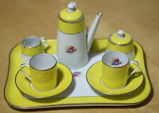 NICE & RARE YELLOW ROYAL LIMOGES ROSE DE PARIS MOKKA ESPRESSO SET MINT CONDITION