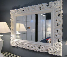 XXL Specchio muro ANTICO ROCOCO 120 x 90 Barocco bianco Florenza Specchio
