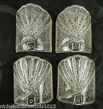 Set 4 Clear Glass Seashell Shaped Wall Sconce Light Covers Bubble Crackle