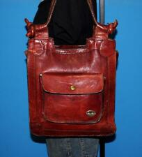 Vintage 1970's Distressed Rust Brown Leather Tote Boho Satchel Hobo Bag Purse