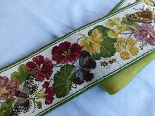 Vintage/Antique style embroidered needlepoint bell pull wall hanging brass mount
