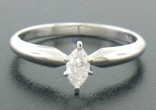 14k Solid White Gold Marquise Diamond Tall Prong Solitaire Engagement Ring