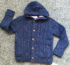 BNWTS boys Thick Warm Jumper Cardigan Lined 10-11 Yrs Blue Lined Hooded Winter